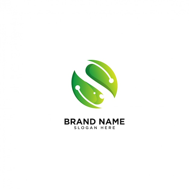 Logotipo inicial de s, hoja y naturaleza