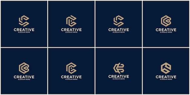 Logotipo de las iniciales c con un color de estilo dorado