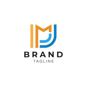 Logotipo de iniciales de letra m y j simple y limpio