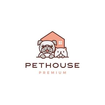 Logotipo de inicio de perro gato mascota casa