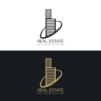 Logotipo de inmobiliaria con rascacielos