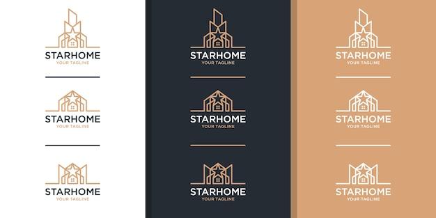 Logotipo inmobiliario con estilo de arte lineal y estrella