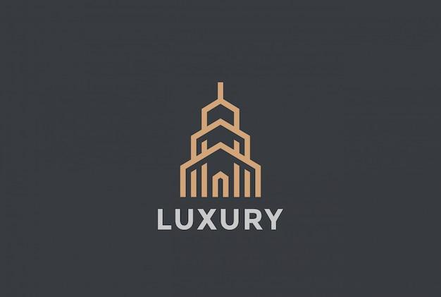Logotipo inmobiliario estilo lineal.