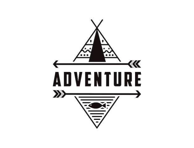 Logotipo de insignia de aventura al aire libre minimalista con tema nativo americano