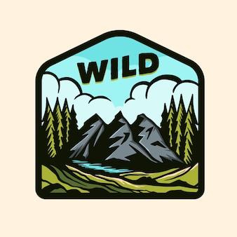 Logotipo de insignia de aventura colorida