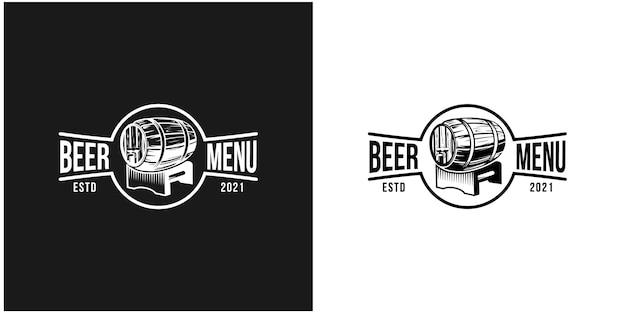 Logotipo de la insignia del barril de cerveza vintage vector premium