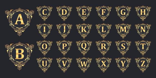 Logotipo de insignia inicial de lujo