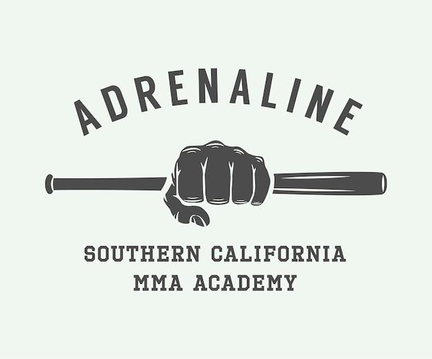 Logotipo, insignia o emblema vintage de artes marciales mixtas. ilustración vectorial. arte grafico.