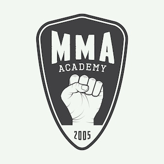 Logotipo, insignia o emblemas de artes marciales mixtas vintage. ilustración vectorial