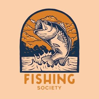 Logotipo de insignia de pesca