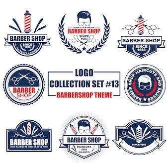 Logotipo, insignia, símbolo, icono, colección de diseño de plantilla de etiqueta con tema de barbería