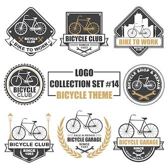 Logotipo, insignia, símbolo, icono, colección de diseño de plantilla de etiqueta con tema de bicicleta