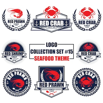 Logotipo, insignia, símbolo, icono, colección de diseño de plantilla de etiqueta con tema de mariscos