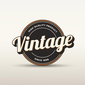 Logotipo de insignia vintage y plantilla de etiqueta con efecto de estilo de texto