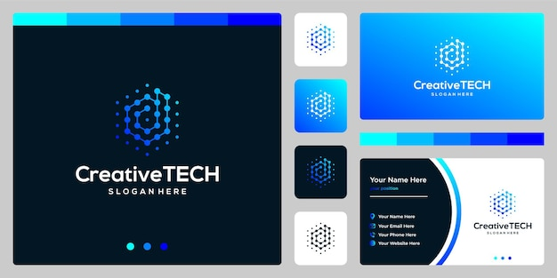 Logotipo de inspiración letra inicial d abstracto con estilo tecnológico y color degradado. plantilla de tarjeta de visita