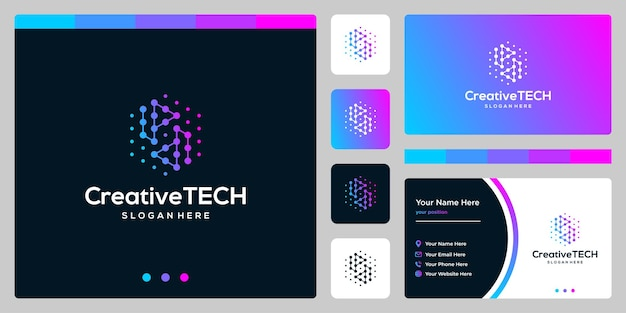 Logotipo de inspiración letra inicial p y d abstracto con estilo tecnológico y color degradado. plantilla de tarjeta de visita