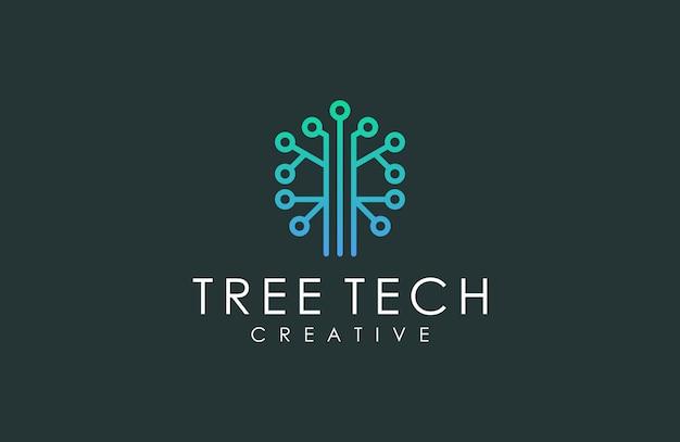 Logotipo inspirador de datos de árbol