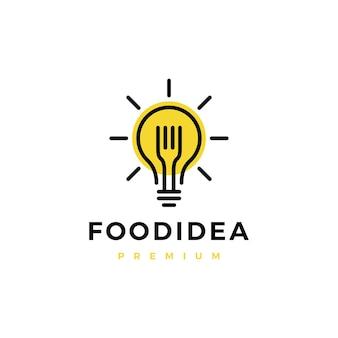 Logotipo inteligente de idea de comida de bombilla de horquilla