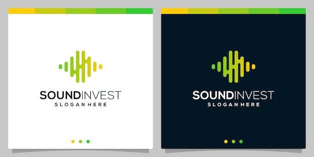 Logotipo de inversión financiera con elementos de concepto de logotipo de ondas de audio de sonido. vector premium