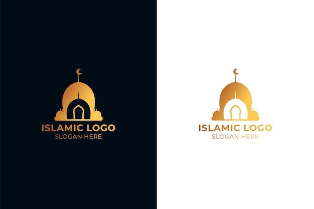 Logotipo islámico dorado en dos colores.