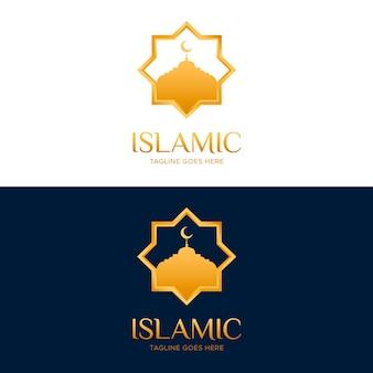 Logotipo islámico en dos colores con elementos dorados.