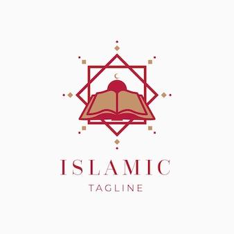 Logotipo islámico con plantilla de libro