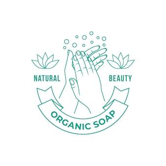 Logotipo de jabón con manos y burbujas