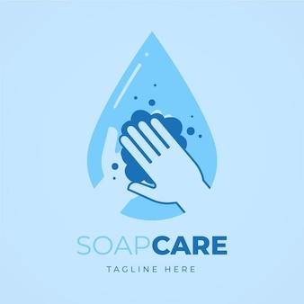 Logotipo de jabón con persona lavándose las manos