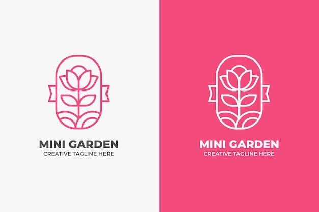 Logotipo del jardín de flores de belleza rosa