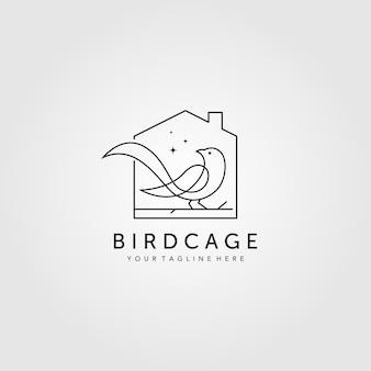 Logotipo de jaula de pájaros de arte lineal