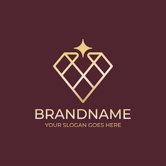 Logotipo de joyería de diamantes geométricos