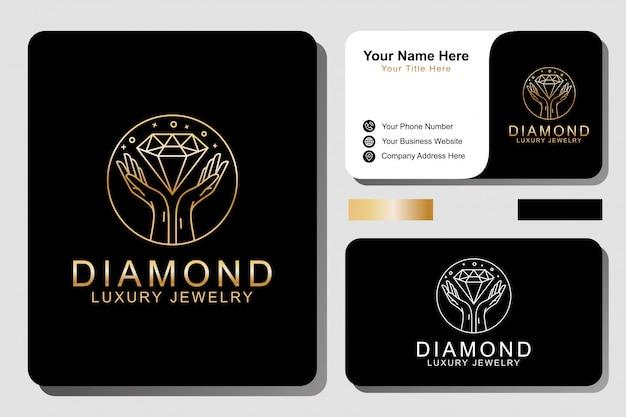 Logotipo de joyería de lujo y tarjeta de visita.