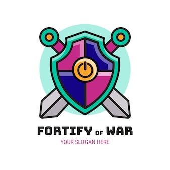 Logotipo de juego creativo de fortify of war