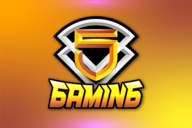 Logotipo de juego de escudo letra s