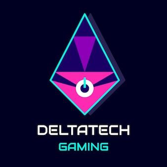 Logotipo de juego futurista deltatech