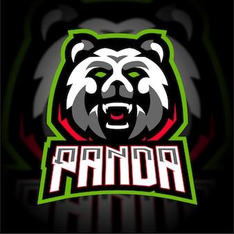 Logotipo de juego de mascota agresivo panda esport