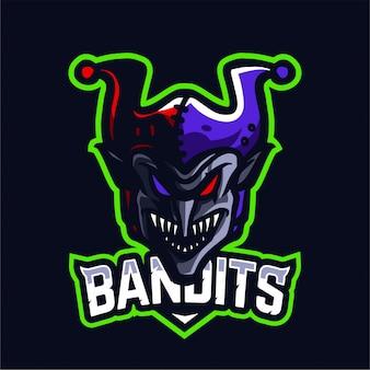 Logotipo de juego de la mascota bandido