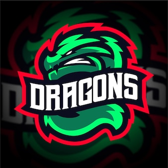 Logotipo de juego de la mascota de dragon esport