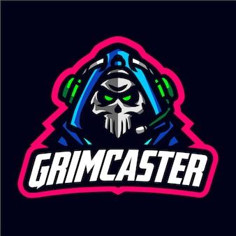 Logotipo de juego de la mascota de grimcaster