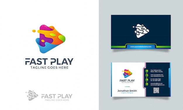 Logotipo de juego rápido con tarjeta de visita.