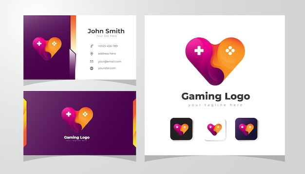 Logotipo de juegos con amor y concepto de joystick.