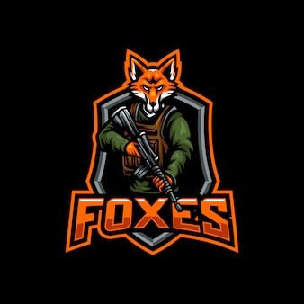 Logotipo de juegos de esport de mascota de zorros