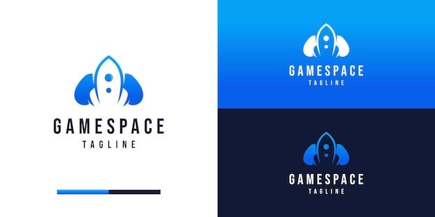 Logotipo de juegos con inspiración en el diseño de cohetes y joystick