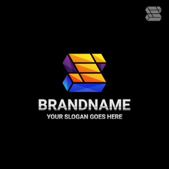Logotipo de juegos de la letra s del cubo 3d