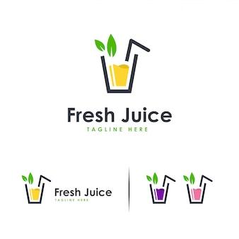 Logotipo de jugo fresco, logotipo de bebida dulce