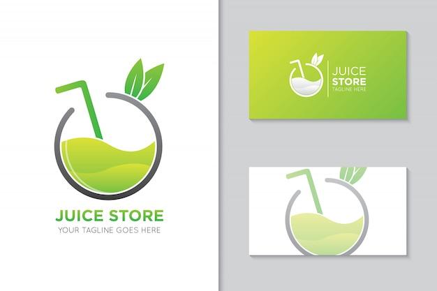 Logotipo de jugo de manzana y plantilla de tarjeta de visita
