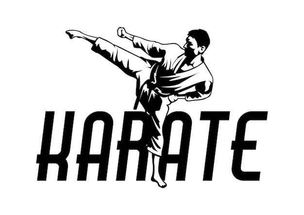 Logotipo de karate de arte marcial. ilustración del símbolo del deporte