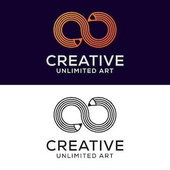 Logotipo de lápiz creativo infinito, dibujo, arte, diseño de logotipo educativo