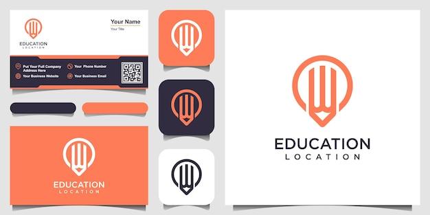 Logotipo de lápiz pin con estilo de arte lineal y diseño de tarjeta de visita