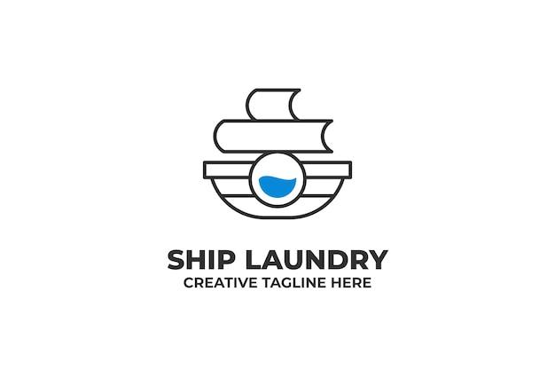 Logotipo de lavado limpio de barco de lavandería